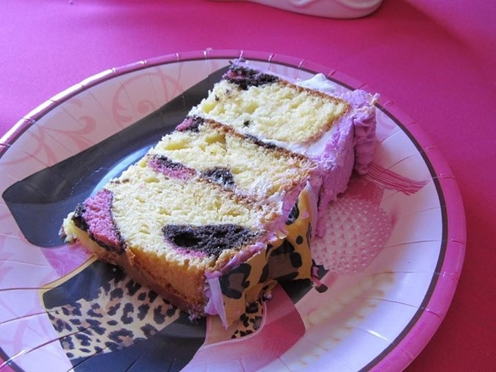 First time i put leopard spots in the cake mix and used