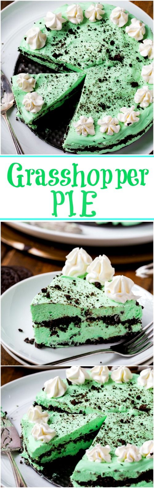 No Bake Grasshopper Cheesecake Pie