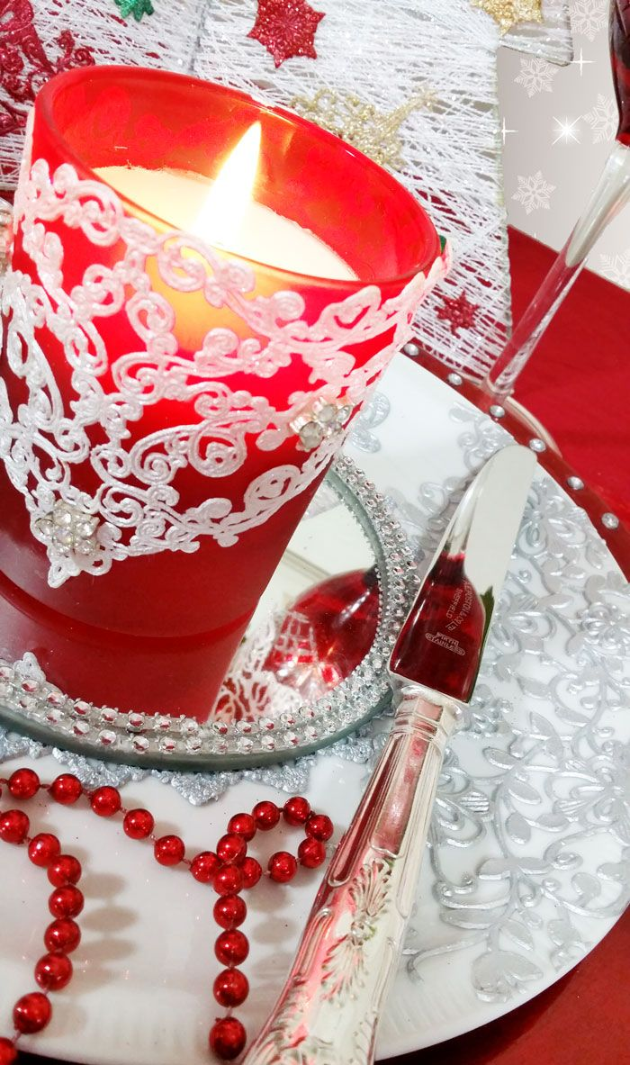 Christmas table setting candle & dinner plate. Embellished with edible lace