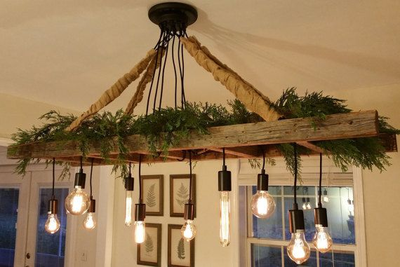 Vintage Farmhouse Ladder Chandelier with Edison Bulbs made with Reclaimed Rustic Barnwood