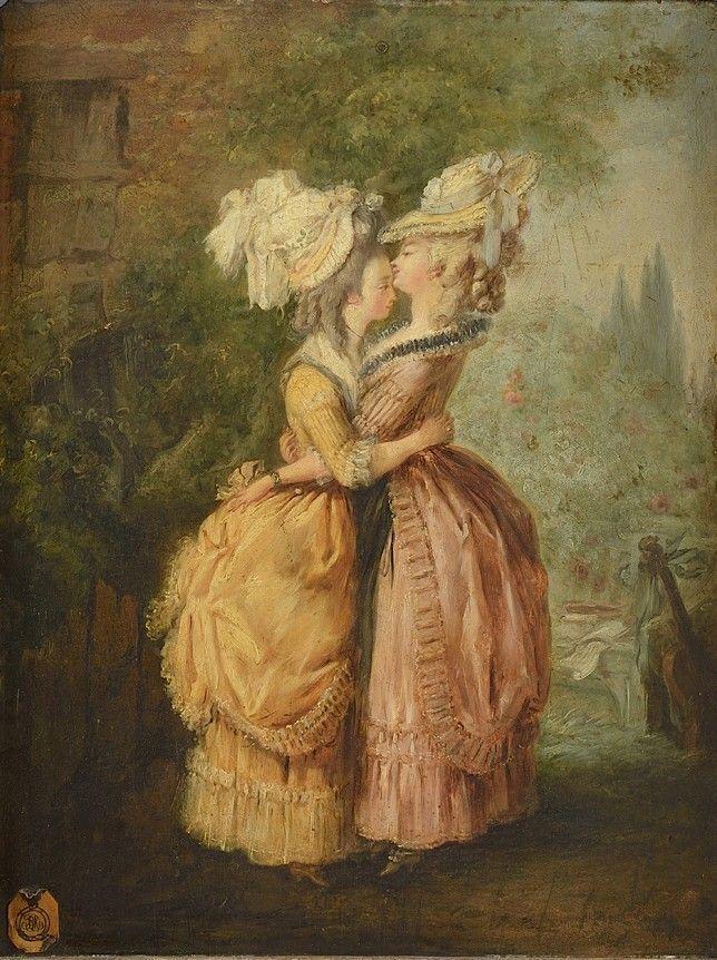 L'étreinte, dans le goût de Jean-Frédéric Schall (1752-1825)