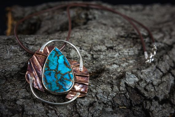 fold formed copper and sterling silver necklace by Kirkihandmade