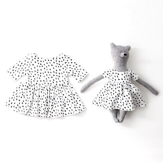 Matching Toy Bear and Baby Organic Cotton Dress in Dalmatian Print