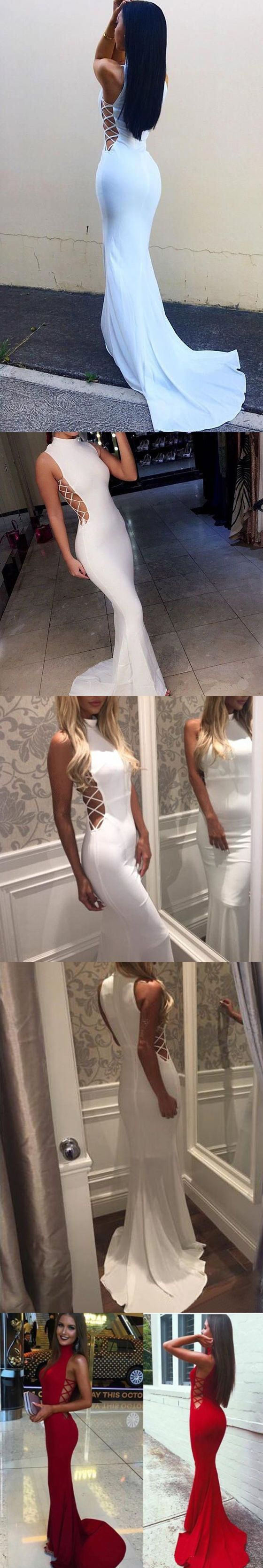 2017 Custom Made Affordable White Mermaid Sexy High Neck Long Prom Dresses,High Quality
