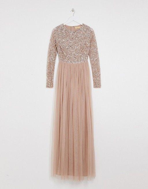a8057ab2 Maya Tall | Maya Tall Bridesmaid long sleeve sequin top maxi tulle dress