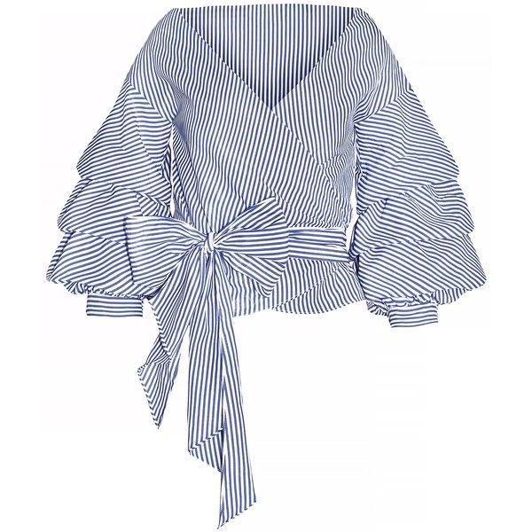 Lola Striped Balloon Wrap Tie Top ($52) ❤ liked on Polyvore featuring tops, tie waist top, wrap top, white top, stripe top and wrap tie top