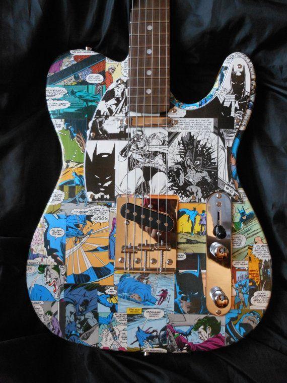 Batman tele style electric guitar with custom Batman by ComicDecor