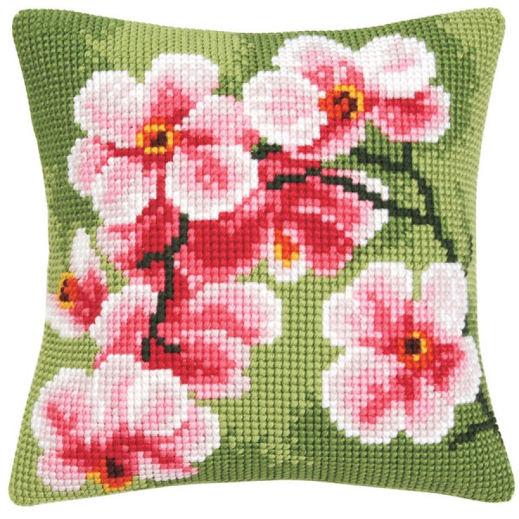 Pink Orchids Pillow Top - Cross Stitch, Needlepoint, Stitchery, and Embroidery Kits, Projects, & Needlecraft Tools | Stitchery