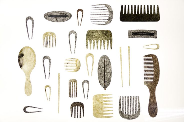 a seriesof haircombs and accessories   made fromutilizing recycledtrimmings from local hairdressers