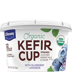 We've strained our kefir into a tart, tangy, spoonable snack served in a convenient 5oz cup. Try our protein-packed Blueberry Lavender Organic Kefir Cup!