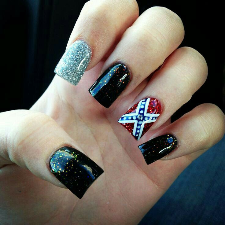 The rebel flag with 13 stars but the rest of the nails solid black - 457 Best Nails Images On Pinterest Nail Scissors, Hair Dos And
