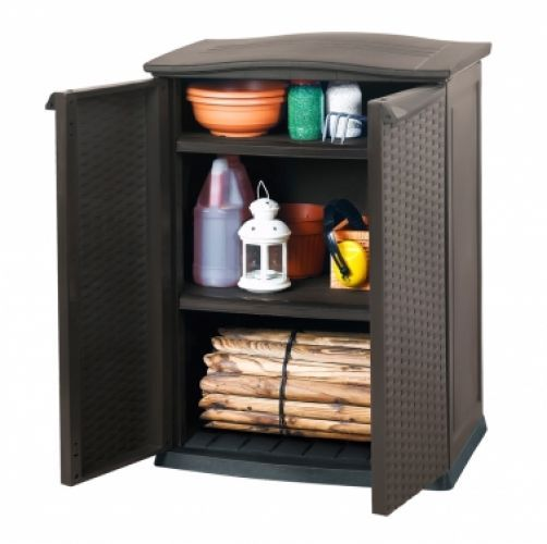 Keter Mini Patio Storage Shed Outdoor Garage Cabinet Compact Rattan Anthracite