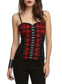 HOTTOPIC.COM - Royal Bones Red Plaid Corset Top