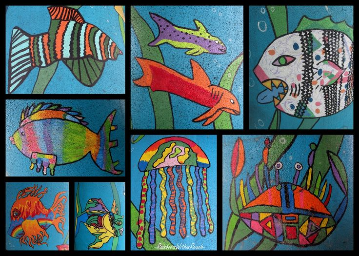 Ocean animals art lesson. **5th grade does a big unit on Oceans!