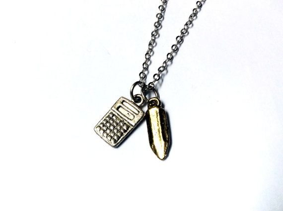 Number Cruncher: calculator and pencil charm necklace by EllipsisIt on Etsy