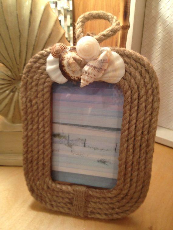 Seashell Nautical Rope Frame/Coastal Photo Frame~~ by My Honeypickles
