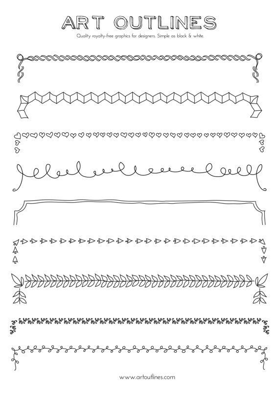Set of Borders – Art Outlines Full Page 9 Original Hand Drawn Outline Illustrations