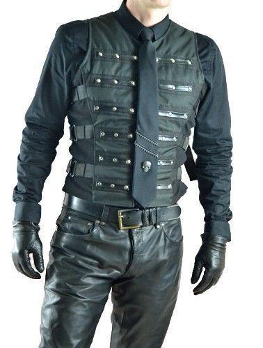 Gothic-Cyber-Herren-Weste-mit-Nieten-Waistcoat-Uniform-Punk