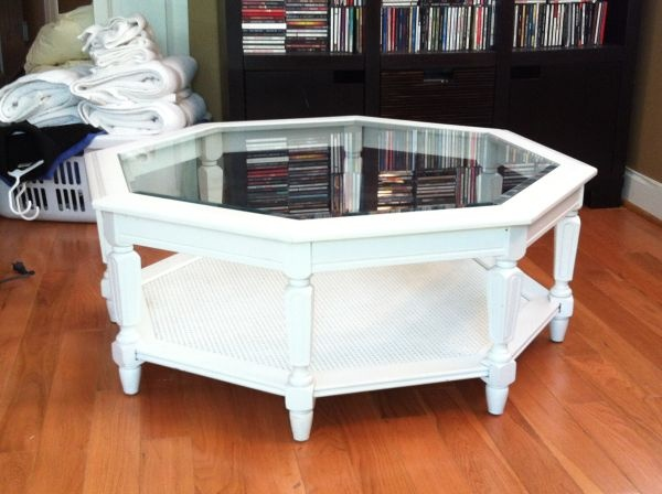 Octagon Wood Glass Coffee Table 60 Cwe