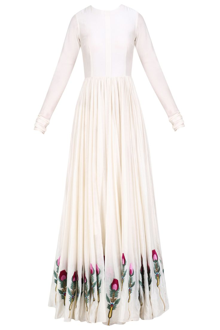 Off white silk thread and zari floral embroidered gown available only at Pernia's Pop Up Shop.