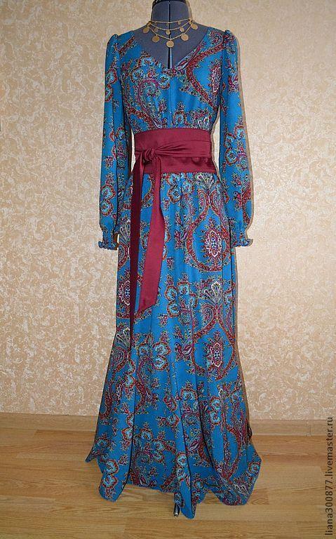 """Купить Платье """"Цыганская дочь"""". - синий, пейсли, платье в пол, романтический стиль, с поясом"""