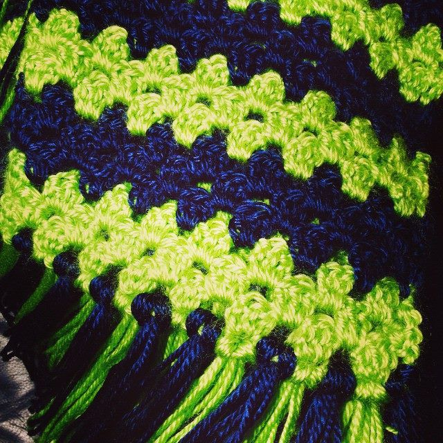 True Colors Scarf in Navy and Lime for Eaton High School spirit!