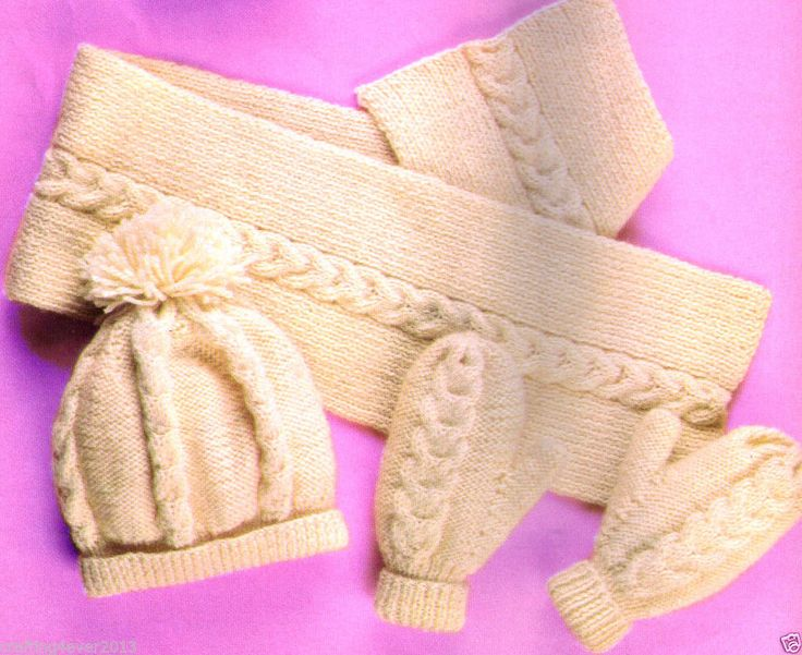 VINTAGE UNISEX CABLE HAT SCARF & GLOVES ADULTS & CHILD'S 8 PLY KNITTING PATTERN