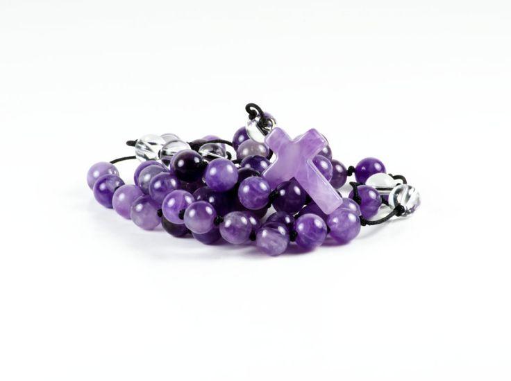 Amethyst & Quartz Gemstone Handmade Prayer Rosary Necklace by TheBeadedGardencom on Etsy