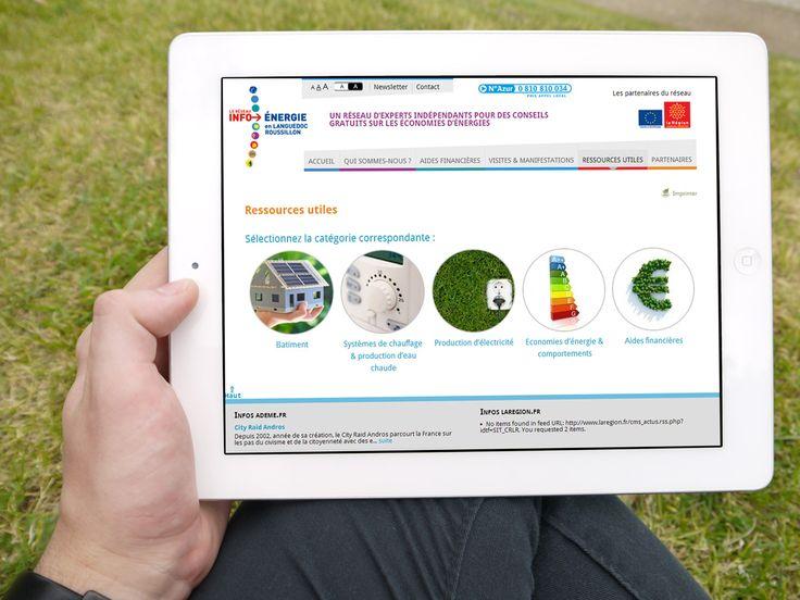 Conception du site web des Espaces Info Energie du Languedoc Roussillon | Com On Light, agence conseil en communication responsable