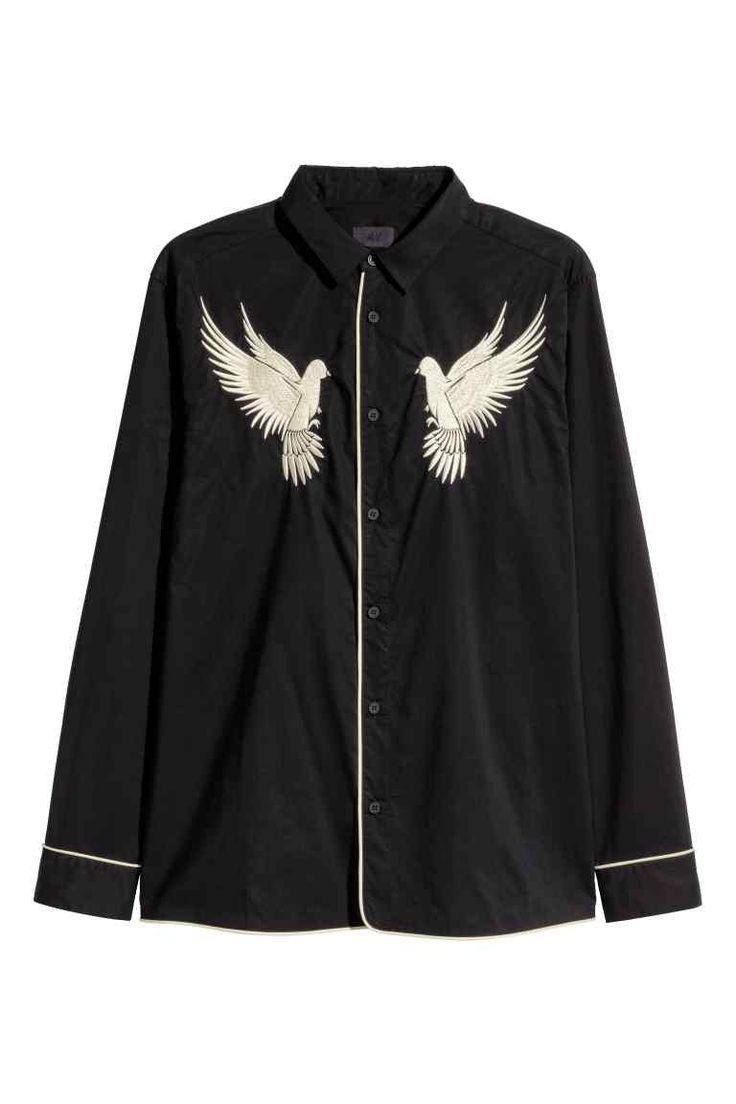 Overhemd met borduursel - Zwart/vogels - HEREN | H&M NL