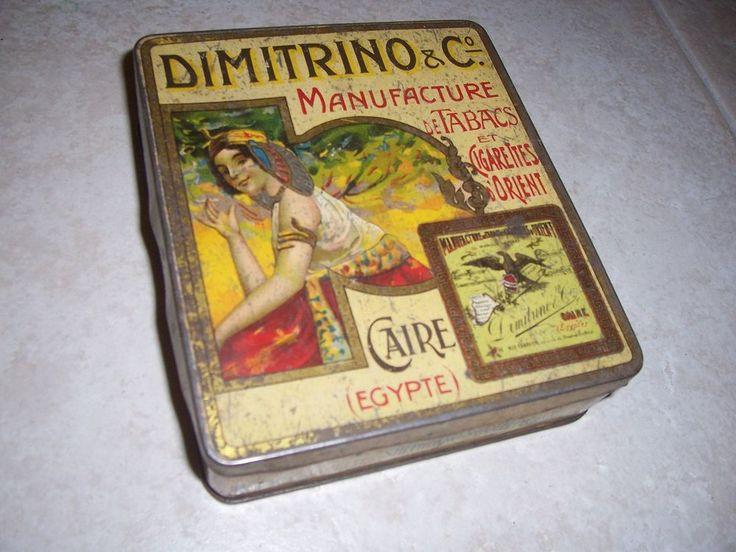 ancienne boite cigarettes tabac tole lithographiee dimitrino orient caire xix em
