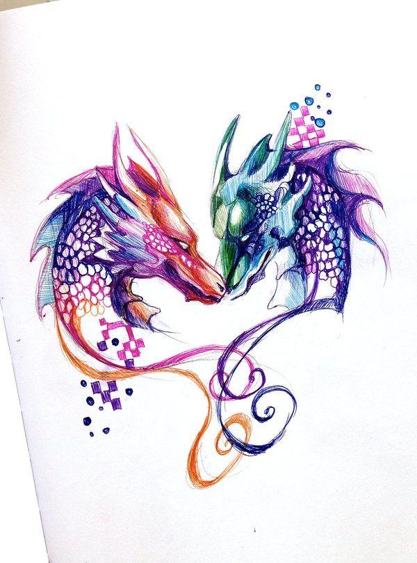 Two Dragons Pen Design by Lucky978.deviantart.com on @deviantART