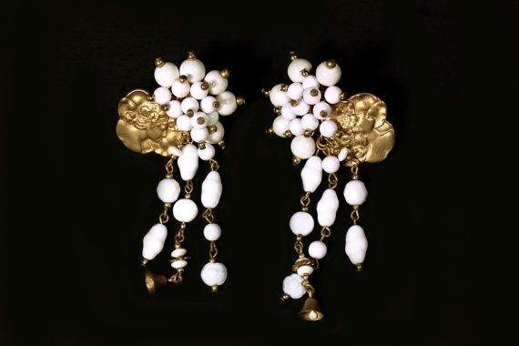 1940s Art Nouveau revival  goldtone  earrings adorned with  a cluster of white wooden beads and milk glass beads completed with fringes