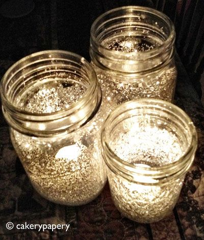 Mix water with Elmer's glue and coat the inside of the jar. Then put glitter in the jar and roll it around until it covers the surface. Lastly, put a tea light inside and enjoy!