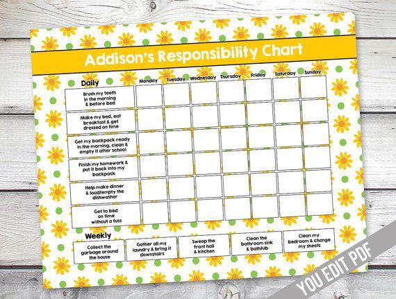 Girl Chore chart printable, Girl Reward Chart, Responsibility Chart, Weekly Chore Chart, Behavior Chart, chart for girls, YOU EDIT PDF