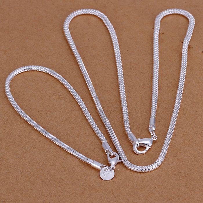 925 jewelry silver plated jewelry set,925-sterling-silver  fashion jewelry set 3Mm Snake Bone Chain /dgfalxma conalfua S076
