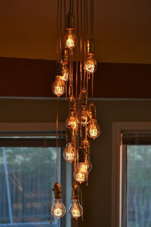 coole diy lampen aus glühbirnen hängeleuchten