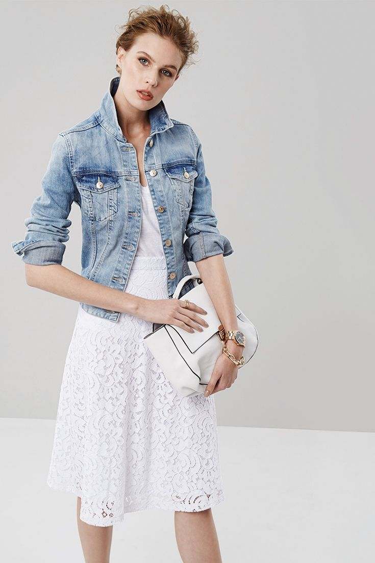 White on white with a pop of denim. #miladys #denim #whiteonwhite