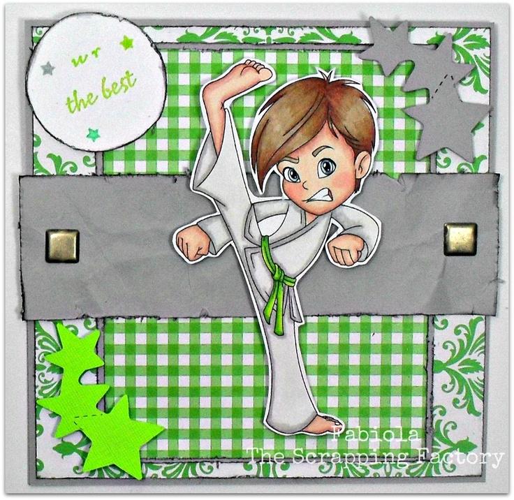 "Redonkadoodles.com - ""Karate Kick Boy"" Digital Stamp - Handmade Card Design By: Fabiola"