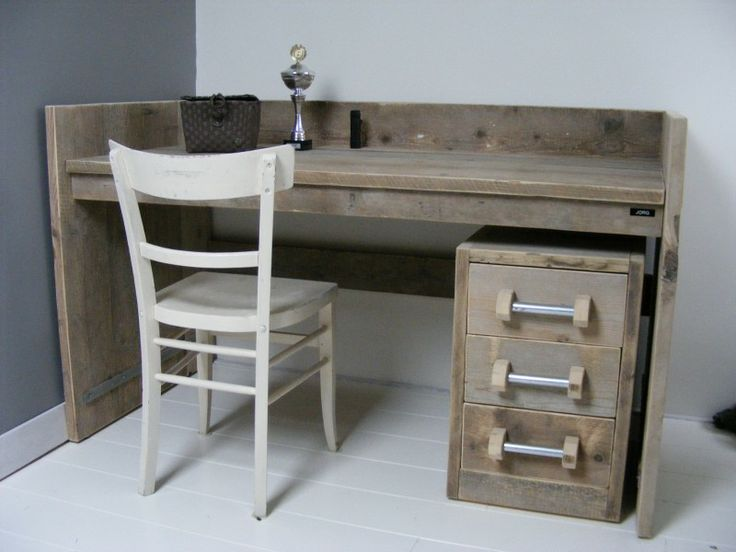 Bureau tafel oud steigerhout met opstaande rand met for Ladeblok bureel