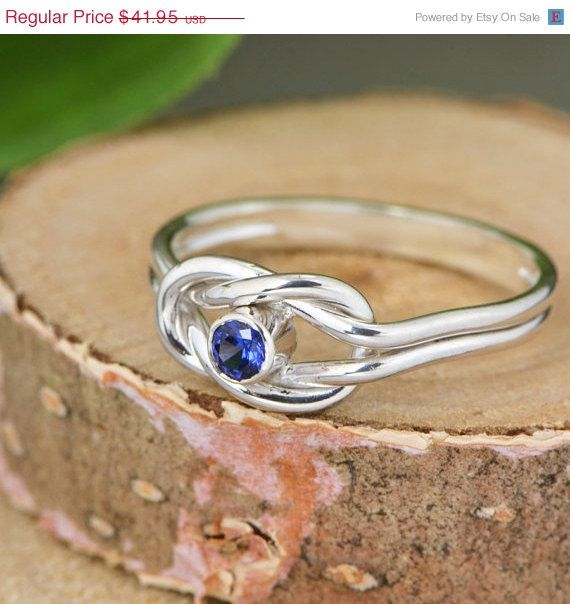 Labor Day Sale Infinity Knot Birthstone Ring - Promise Ring - Friendship Ring - Infinity Knot Jewelry - September Birthstone Ring - Blue CZ by TheJewelryGirlsPlace on Etsy