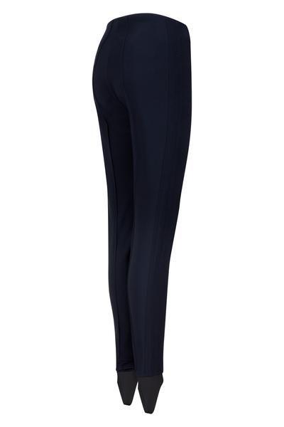 Stretch stirrup ladies ski pant by Emmegi. Available in black, white or navy. Chic ski salopettes for women. Skinny ski pant.