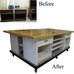 DIY Work Table  build a base on casters, build a table top and use nightstands in between for storage
