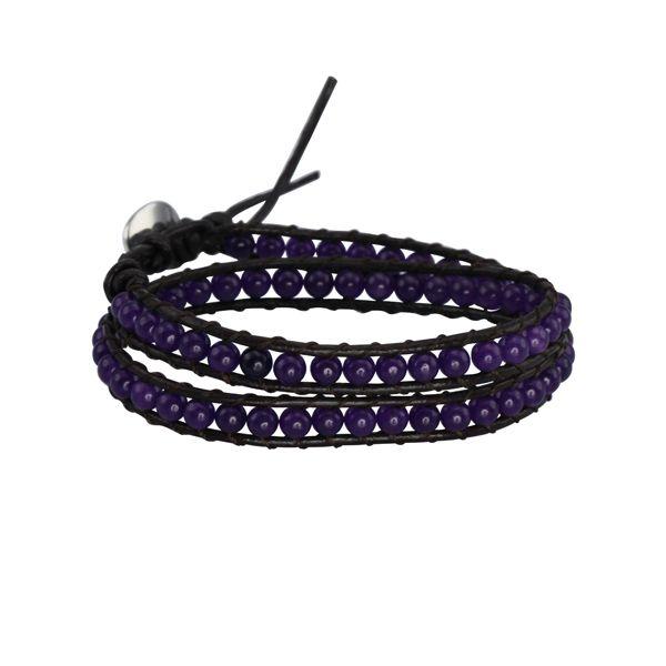 Unisex Tibet Bracelet -  Tanzanite and brown Leather Wrap Bracelet http://lily316.com.au/shop/bracelets-ladies-vintage/tibet-tanzanite-and-leather-wrap-bracelet/