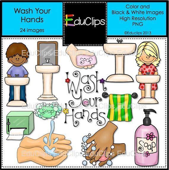 Lavare le mani Clip Art Bundle di EduClips su Etsy