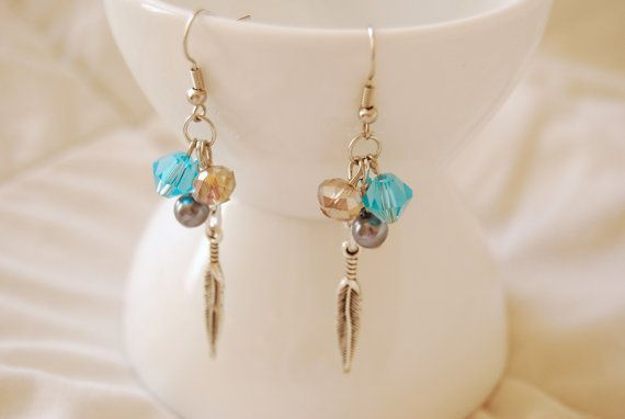 Lovely Antique Silver Feather Dangle Earrings by PrairieDustInc, $12.00