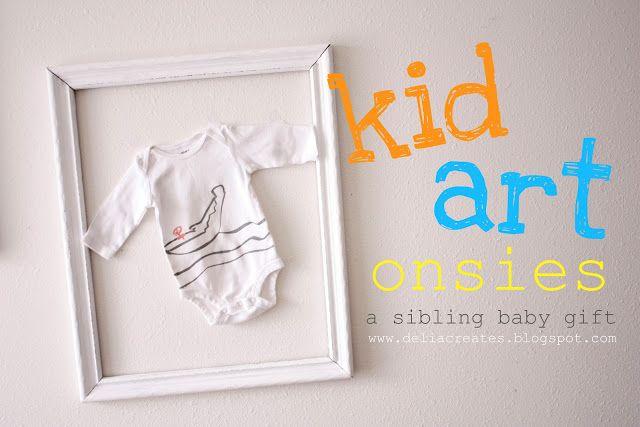 delia creates: Nesting: Kid Art Onsies...Sibling Gifts Turn kid's art into stencils for onesies. Cute.