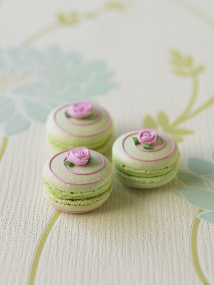 Pistachio macarons may not technically be red velvet cake, but they're still delicious.