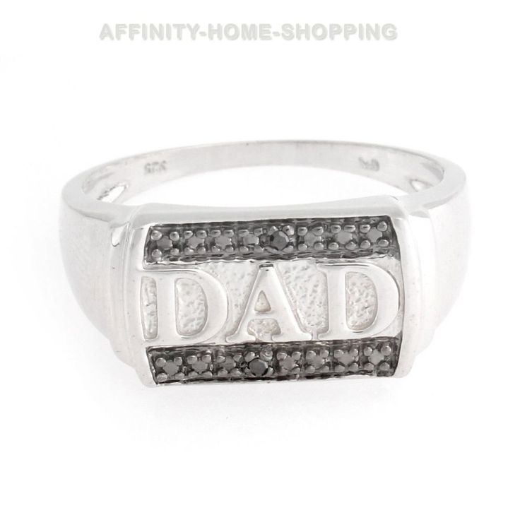 """Sterling Silver Black Diamond Accents """"DAD"""" Men's Ring Sizes 9, 10,11 #affinityhomeshopping #MensRing"""