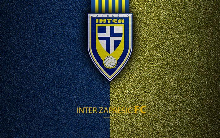 Download wallpapers Inter Zapresic, 4k, emblem, HNL, Zapasich, Croatia, logo, football, Zapresic FC, leather texture, Croatian football club, Croatian Football Championship, T-Com Prva HNL